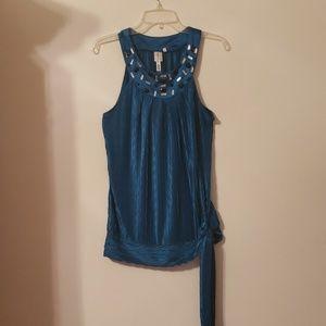 Teal satin sleeveless dress top